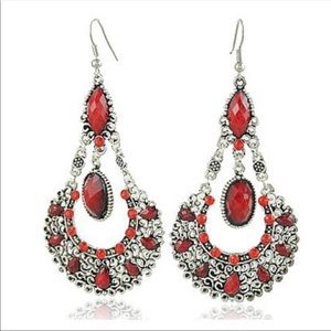 Beautiful red and silver dangling earrings.